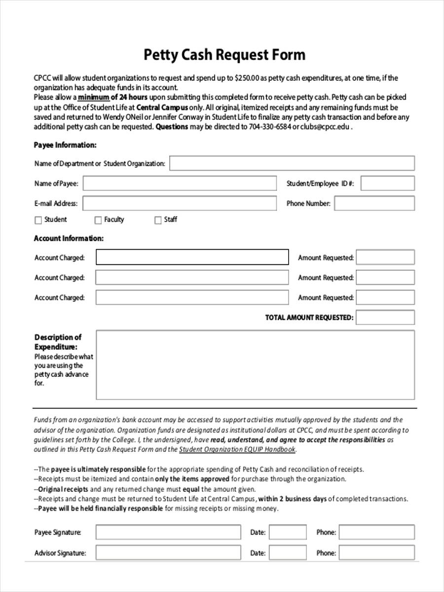 Petty cash request form for Cash advance policy template