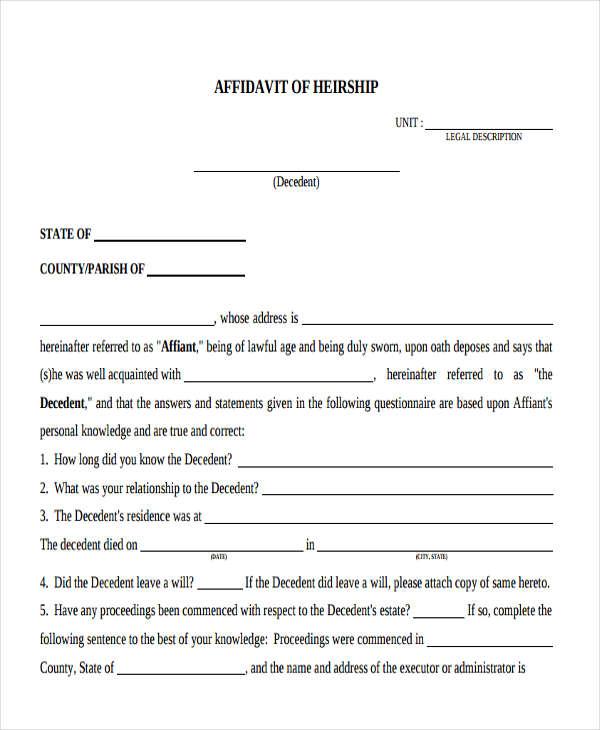 affidavit of heirship form