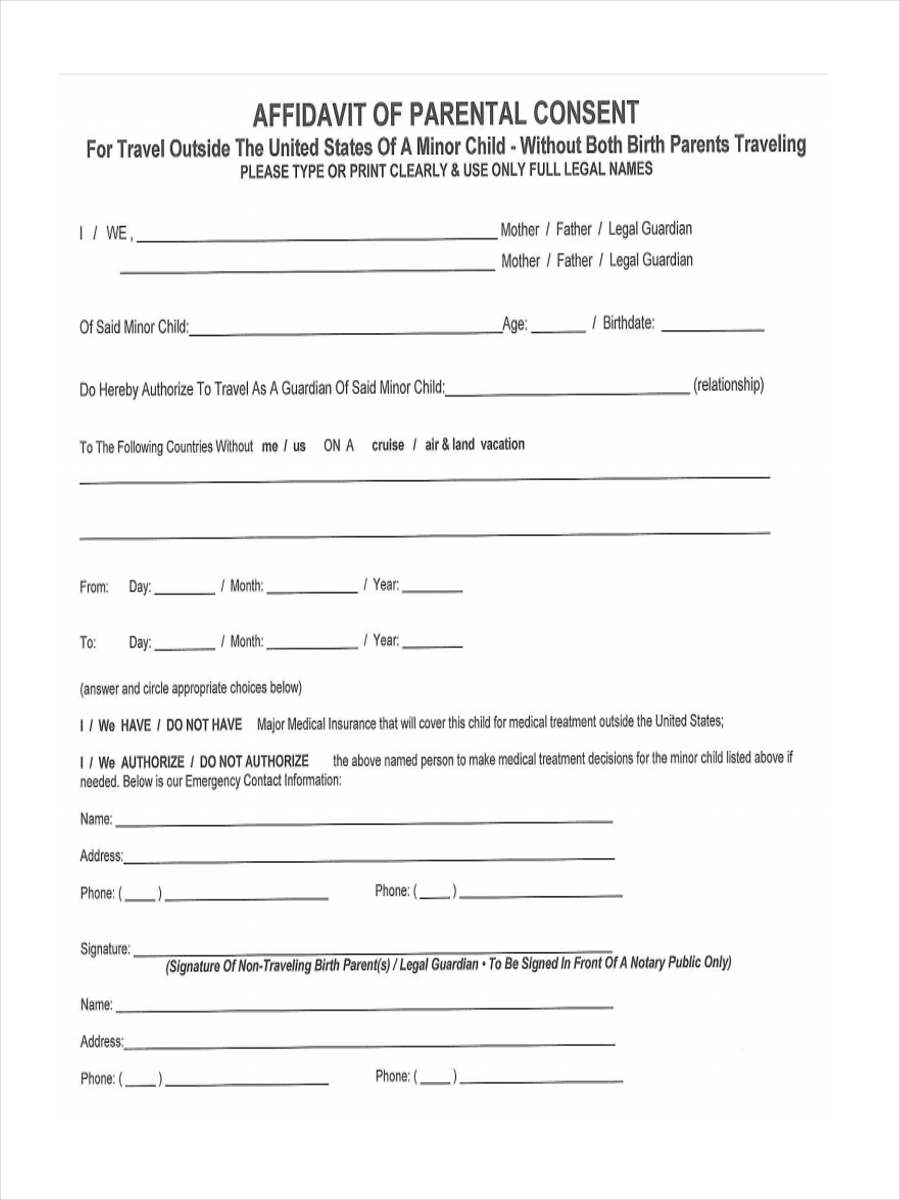 9 parental consent forms free sample example format download affidavit of parental thecheapjerseys