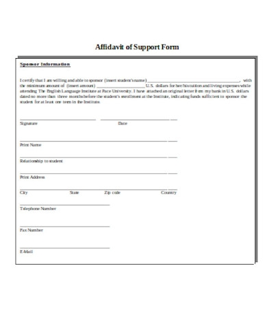 affidavit of support form sample