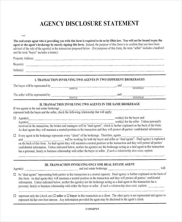 agency disclosure statement