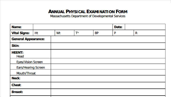 6 physical exam form sample free sample example format download