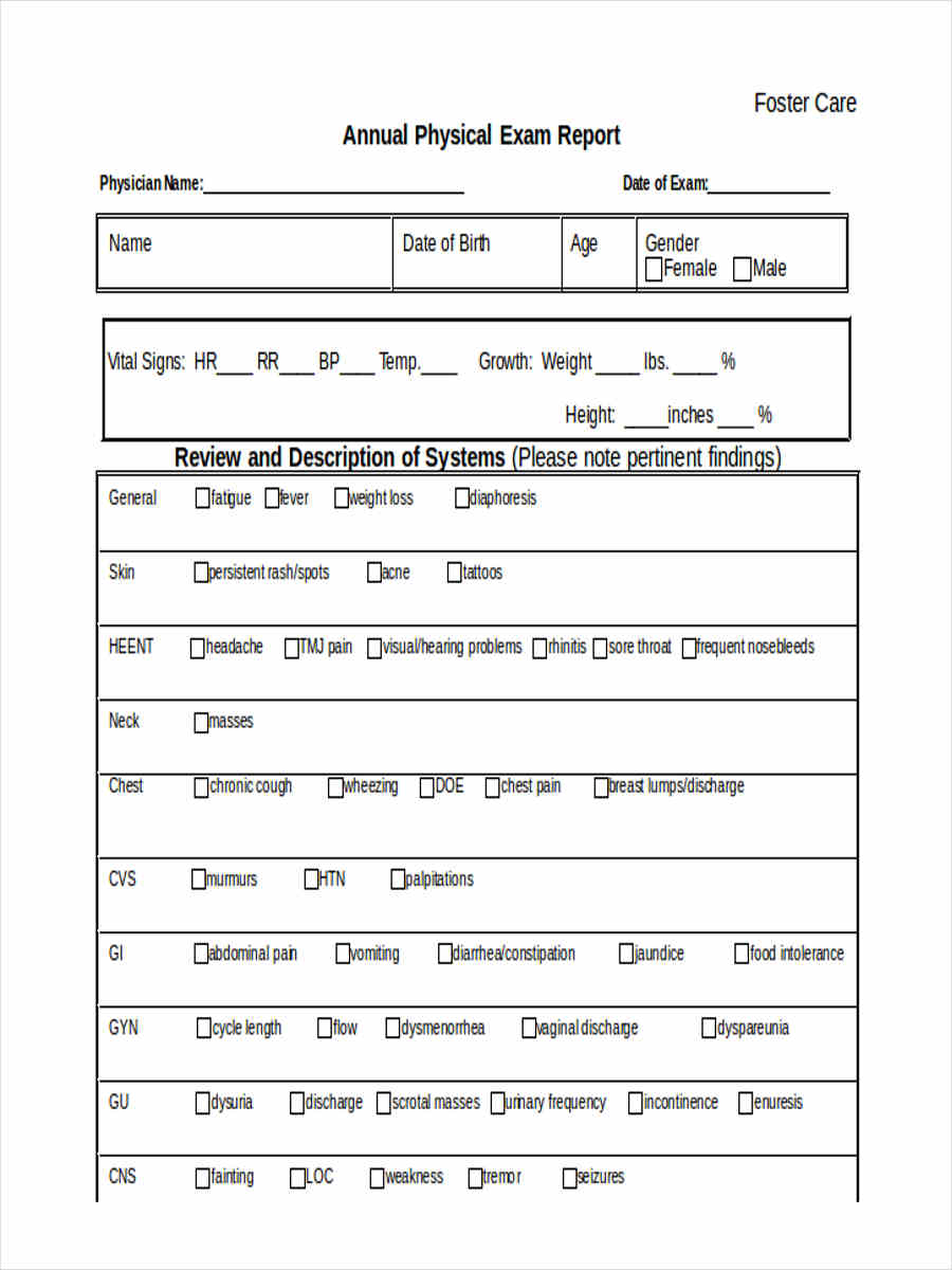 6 physical report form sample free sample example format download