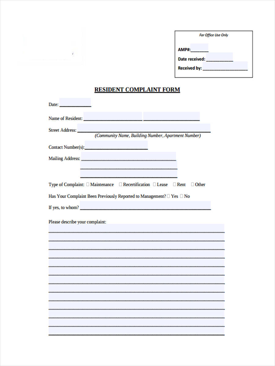 resident complaint form
