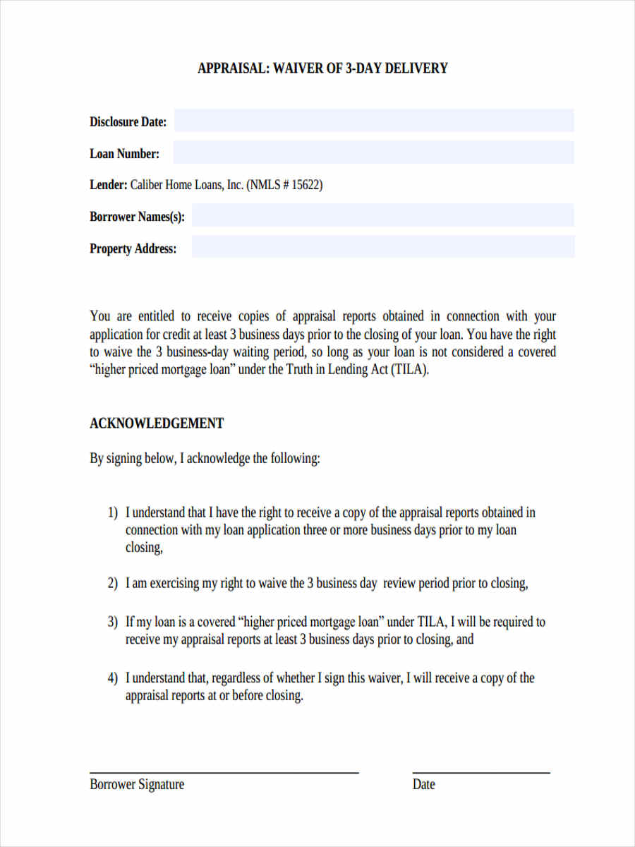 appraisal waiver form