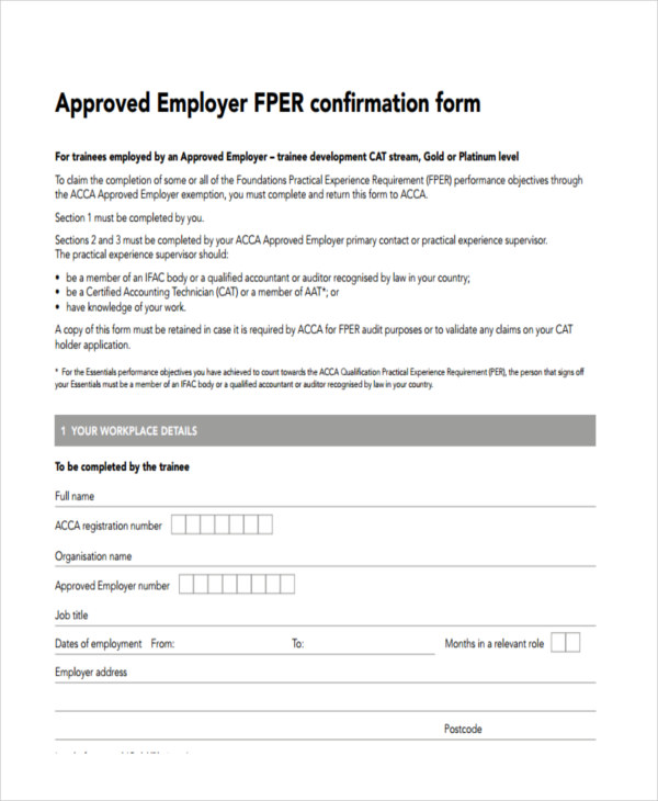 approved employer confirmation