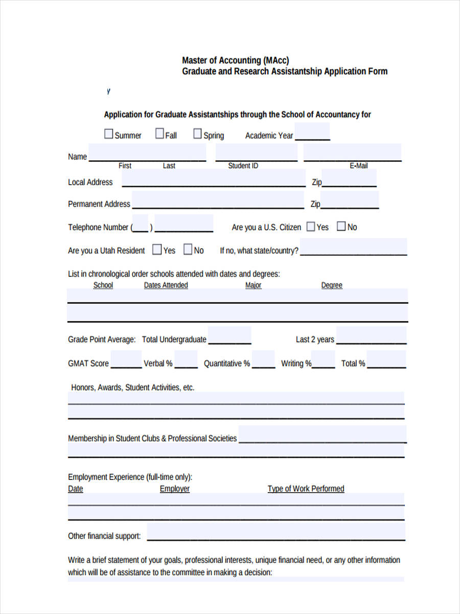 7 Accounting Application Form Sample Free Sample