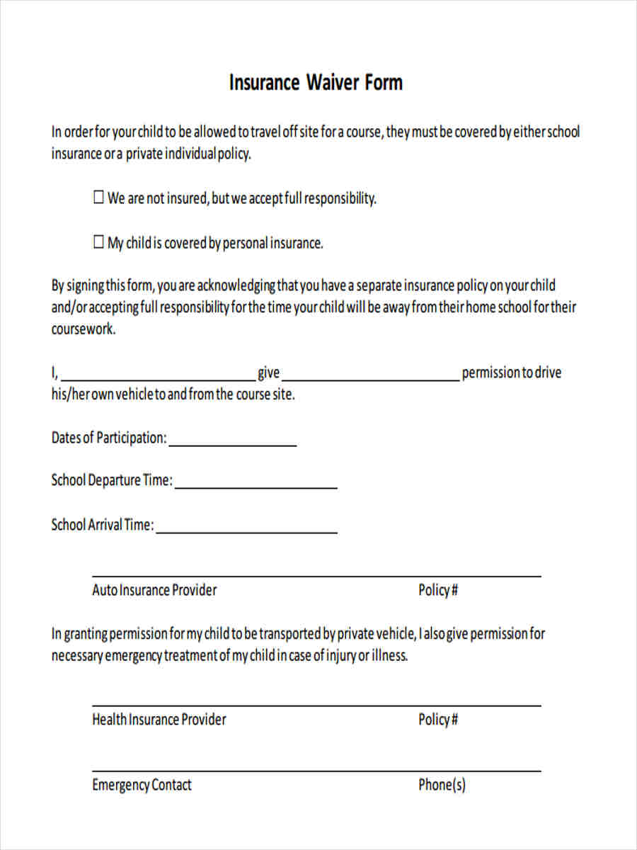 auto insurance waiver template  8 Insurance Waiver Forms - Free Sample, Example Format Download