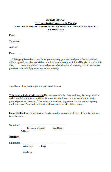 basic 30 day notice form