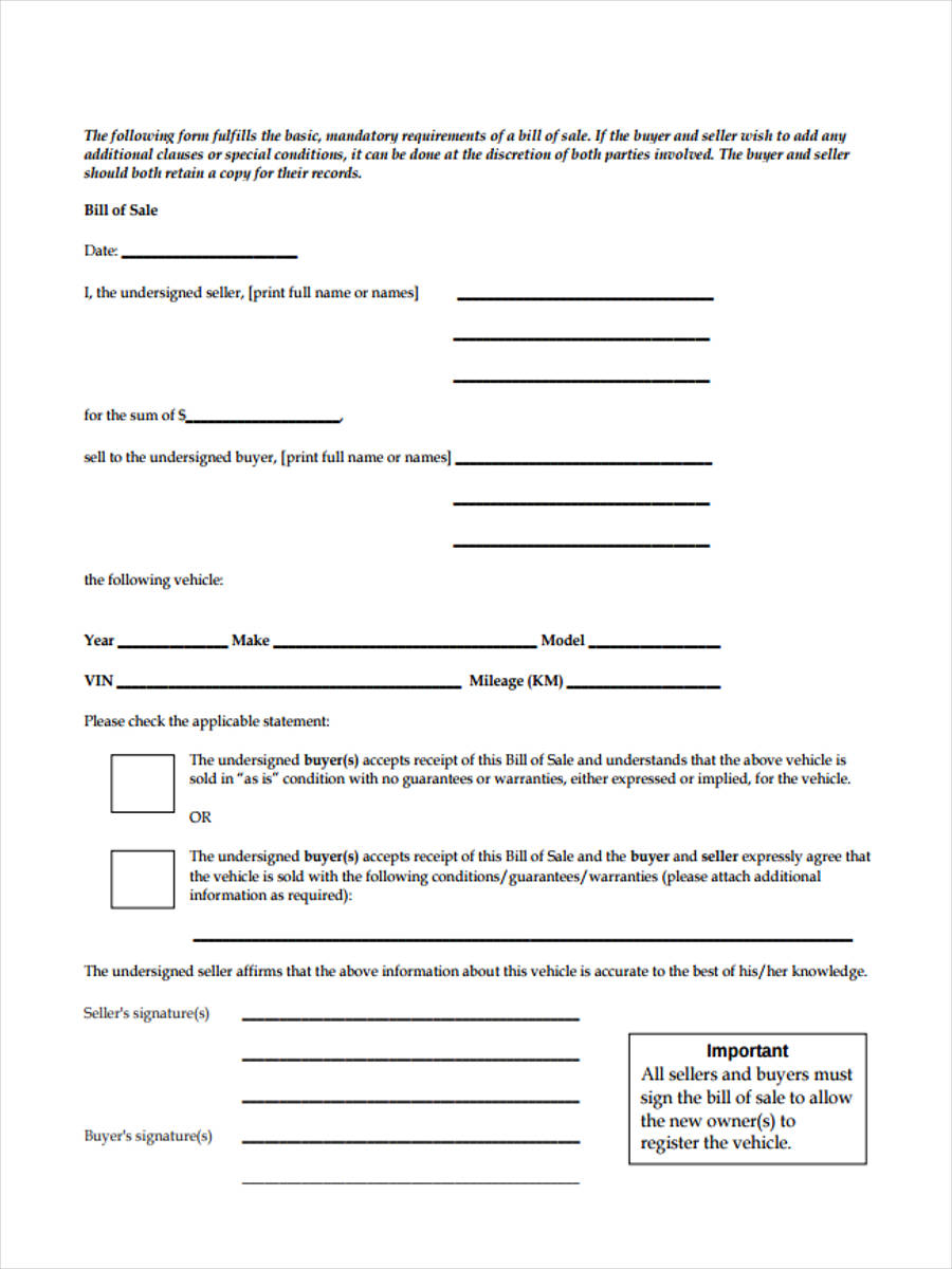 free 7  sample business bill of sale forms in word
