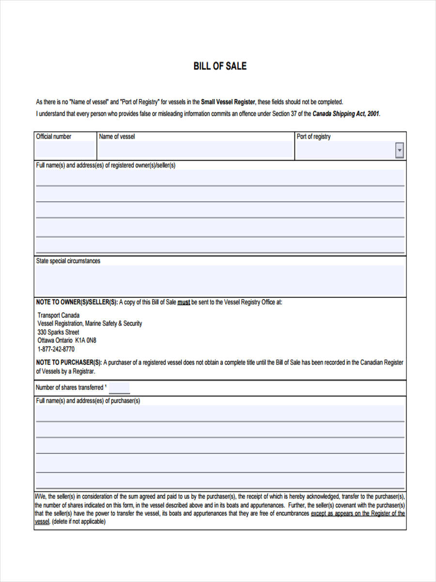 Bill Of Sale Form Pdf >> FREE 7+ Boat Bill of Sale Forms in PDF | Ms Word