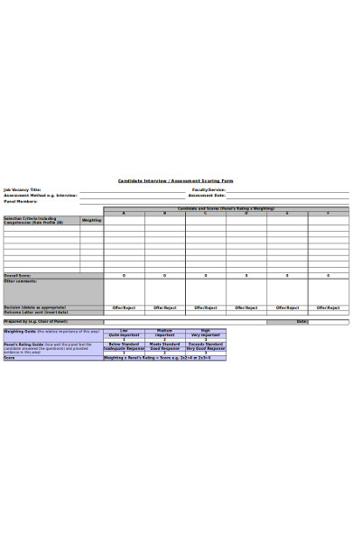 basic candidate assessment form