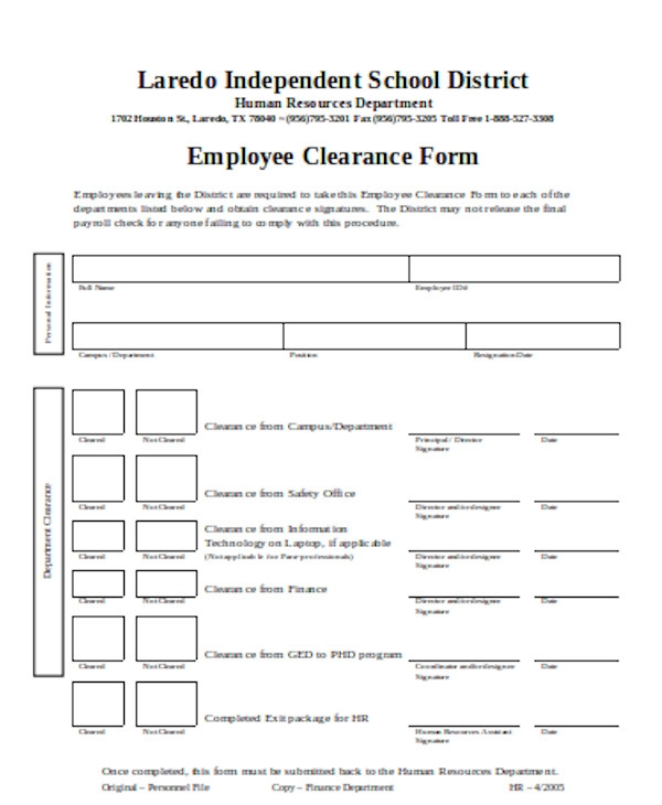basic employee clearance form