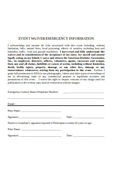 basic event waiver form