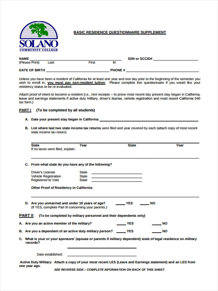 basic residence questionnaire