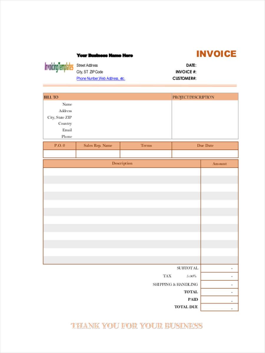 Service Invoice Form Sample Free Sample Example Format Download - Free service invoice template download