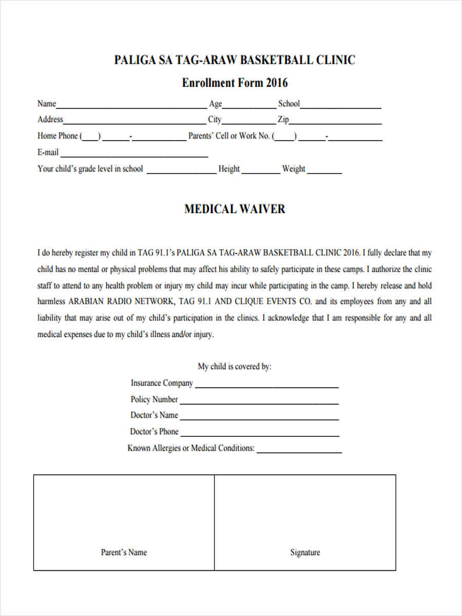 basketball clinic waiver