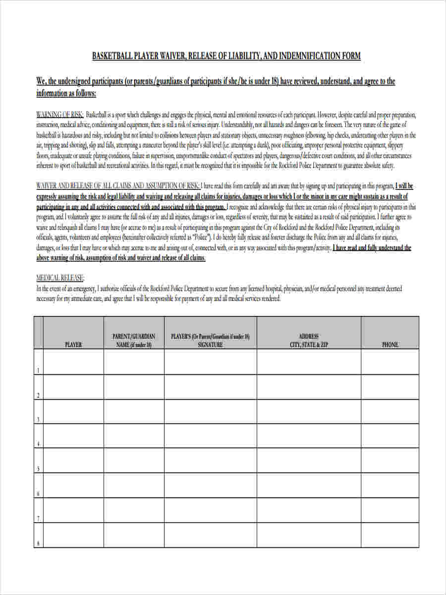 Basketball Waiver Form 8 Free Documents In Word Pdf