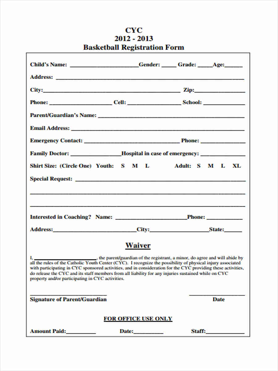 Basketball Waiver Registration