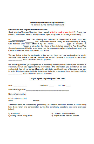 beneficiary satisfaction questionnaire form