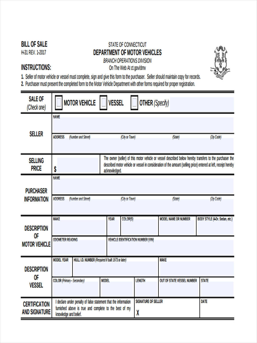 bill of sale form sample