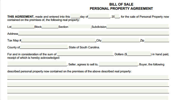 7 generic bill of sale form sample free sample example format