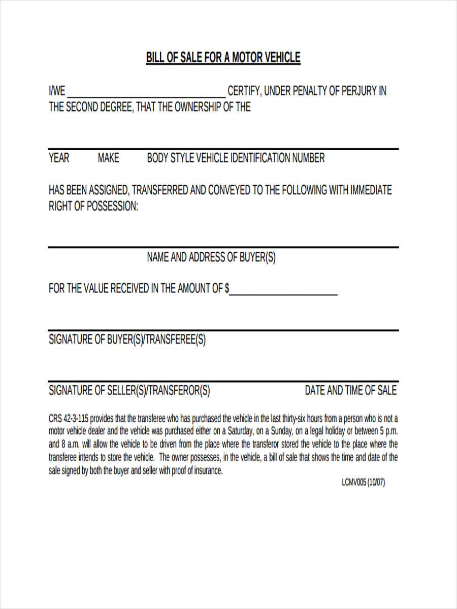 motor vehicle bill of sale form pdf