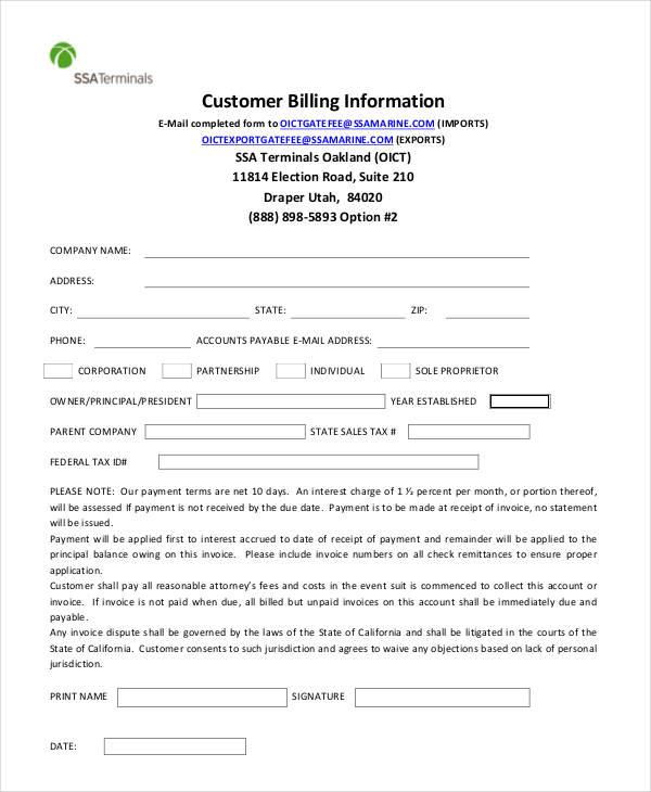 billing information form