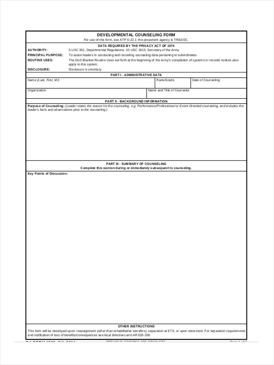 free 6  blank counseling forms in pdf