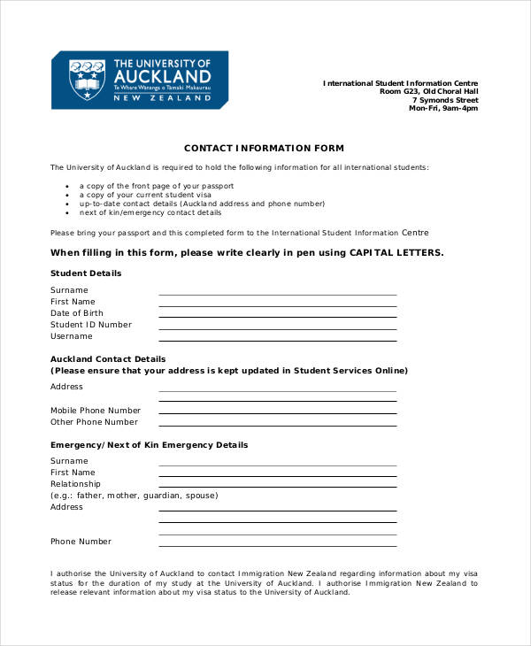 blank contact form
