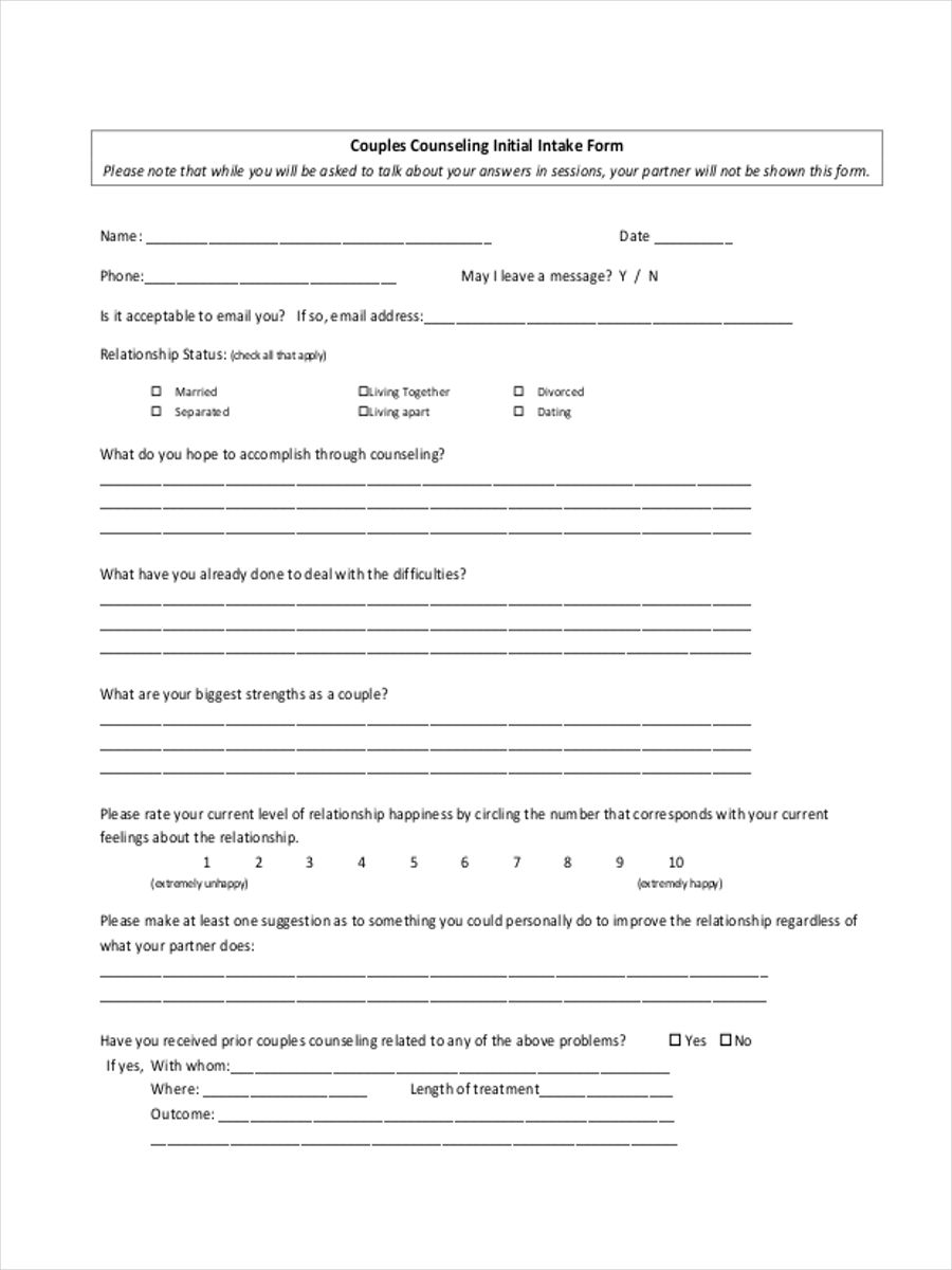 initial counseling template - initial counseling