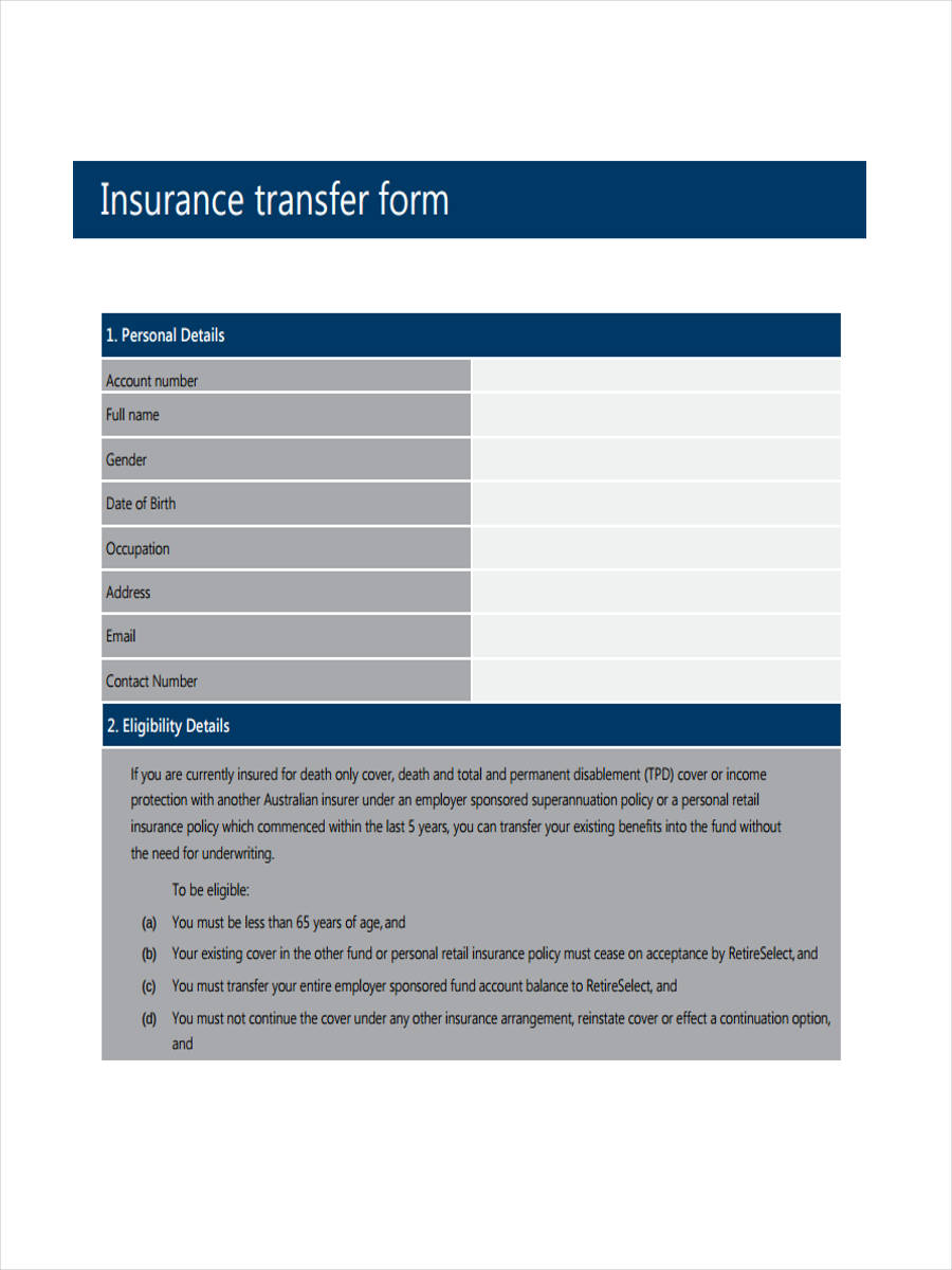 blank insurance form