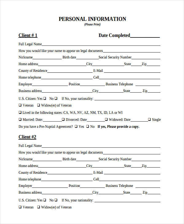 Personal Information Forms  Free Sample Example Format Download