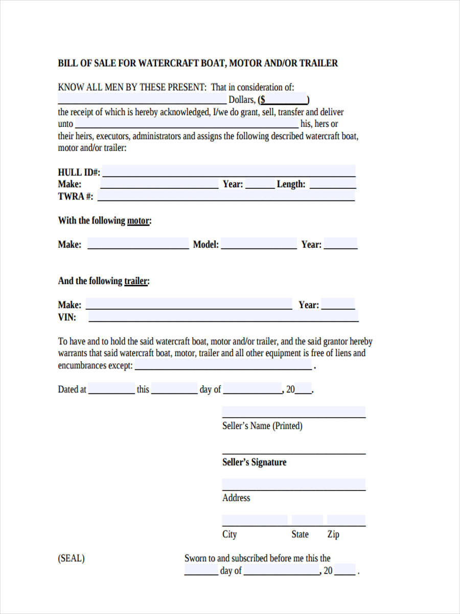 6+ Boat Bill of Sale form Sample - Free Sample, Example ...