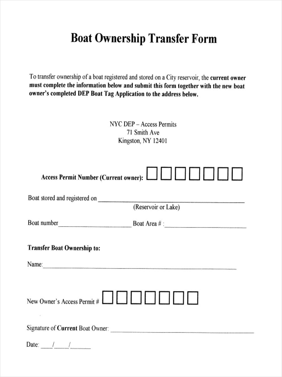 boat ownership form