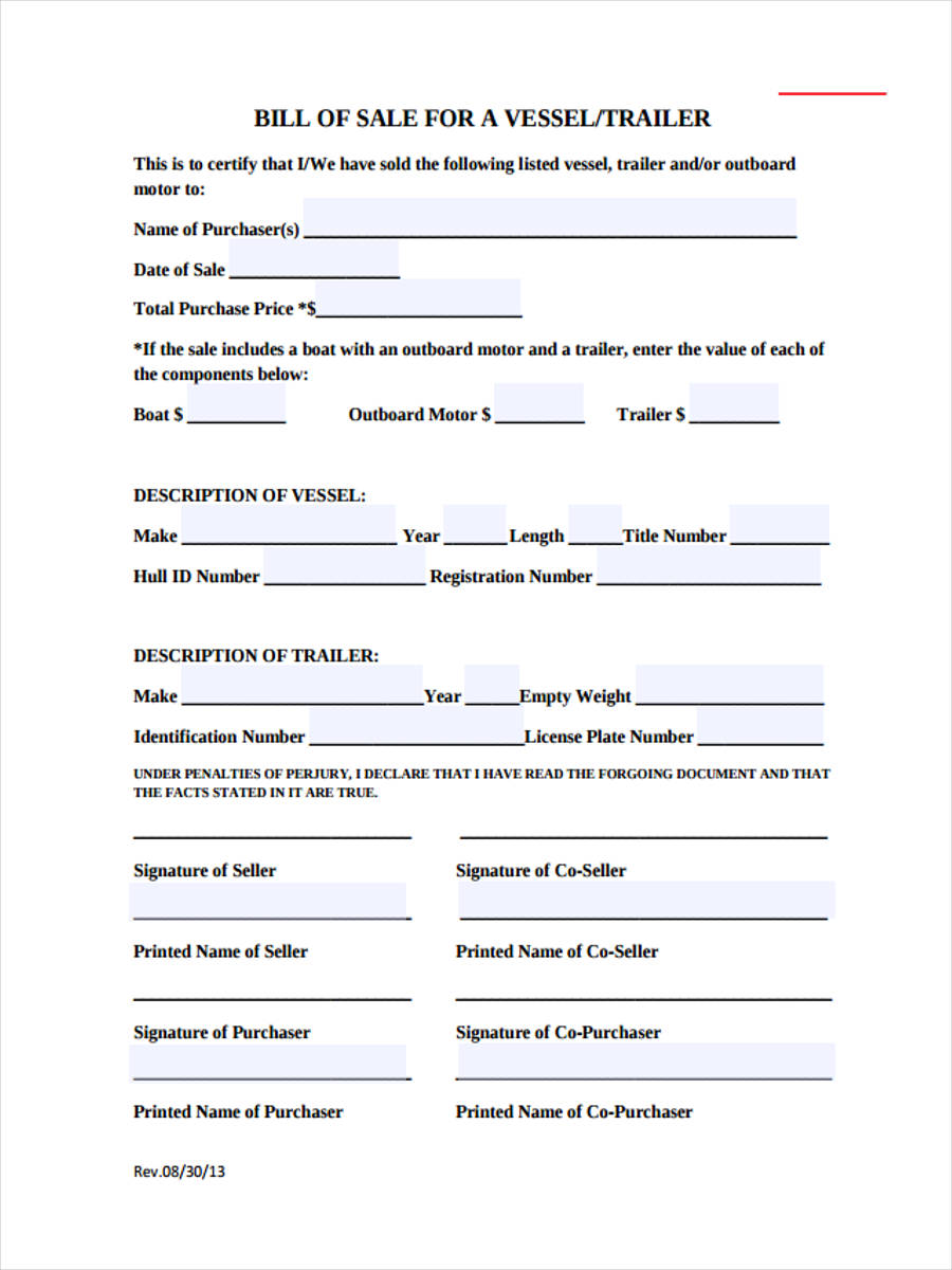 6 boat bill of sale form sample free sample example format download