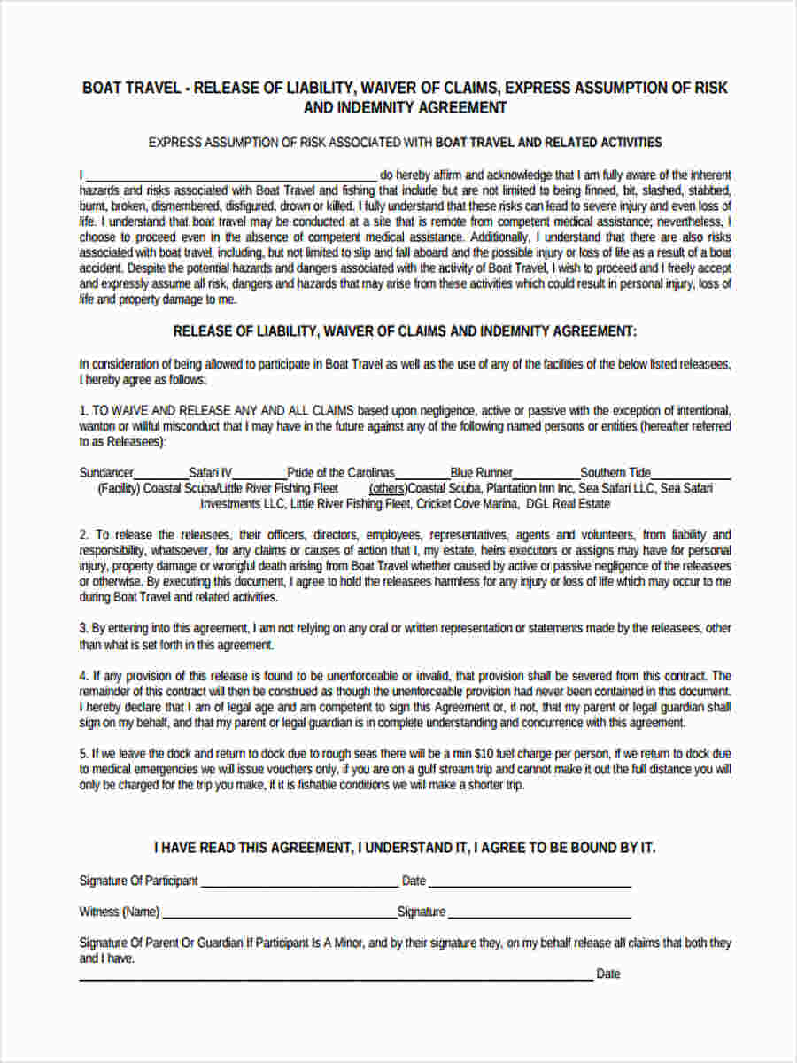 25 Liability Forms in PDF – Release of Liability Agreement