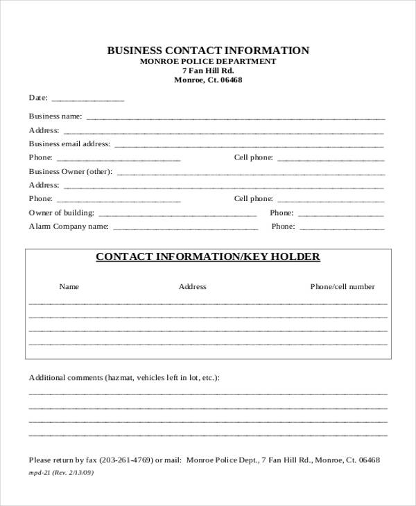 13  contact information forms