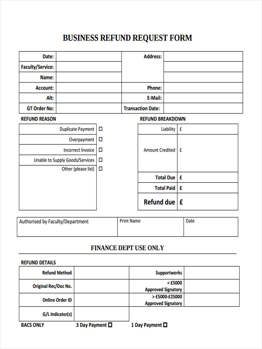 8 refund request form samples free sample example format download
