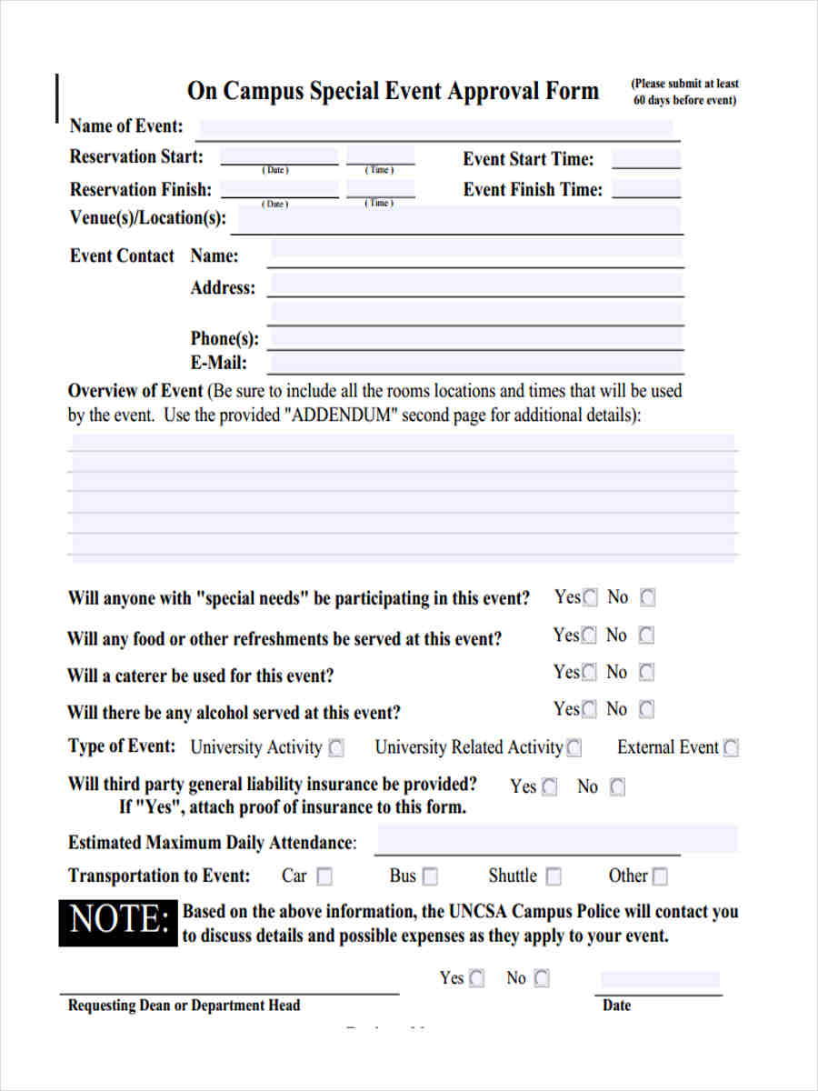 campus approval form
