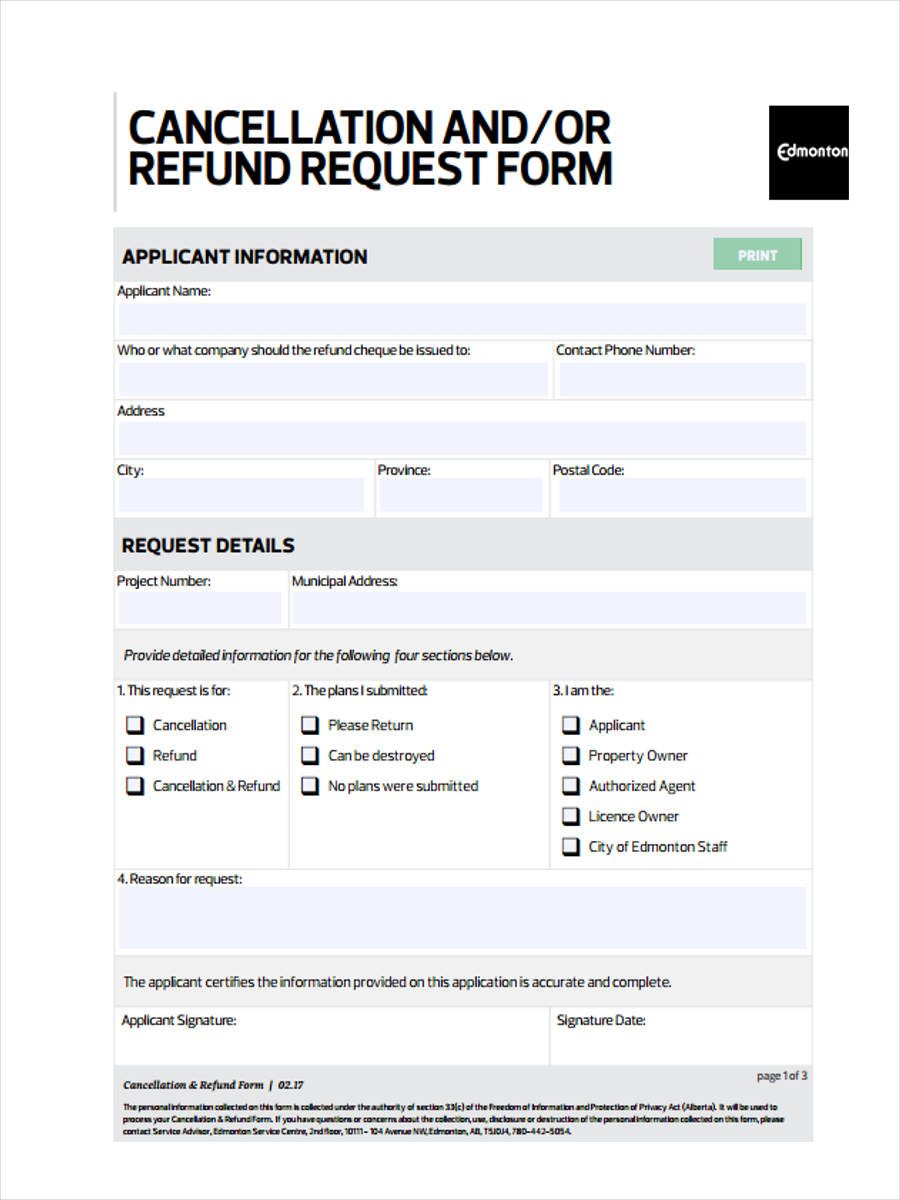 free 10  refund request forms in pdf