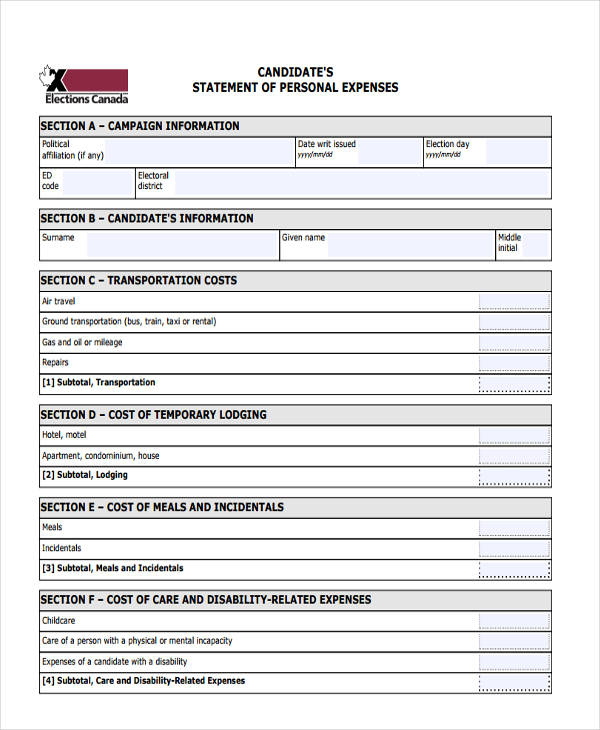 candidate personal expenses