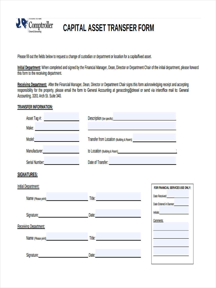 free 9  asset transfer forms in pdf
