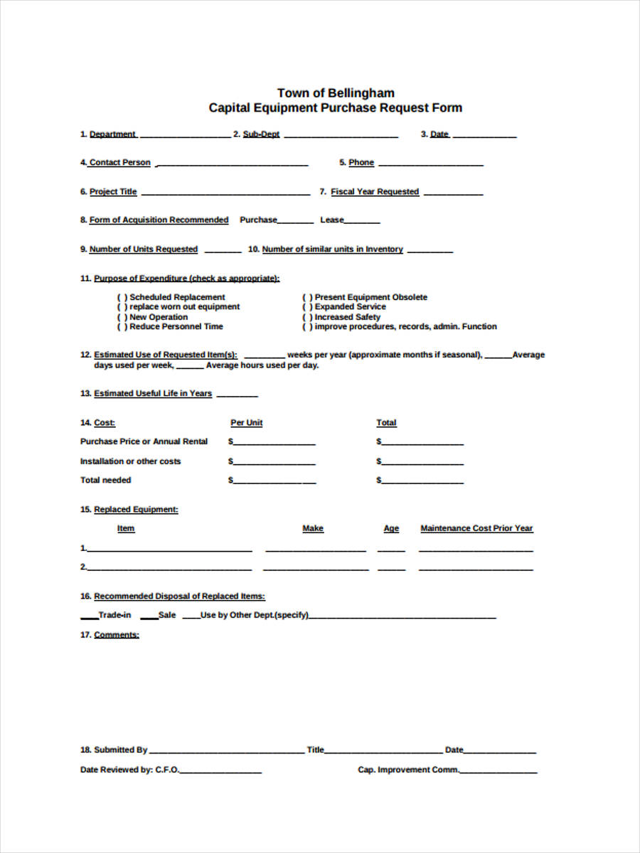 capital equipment requisition
