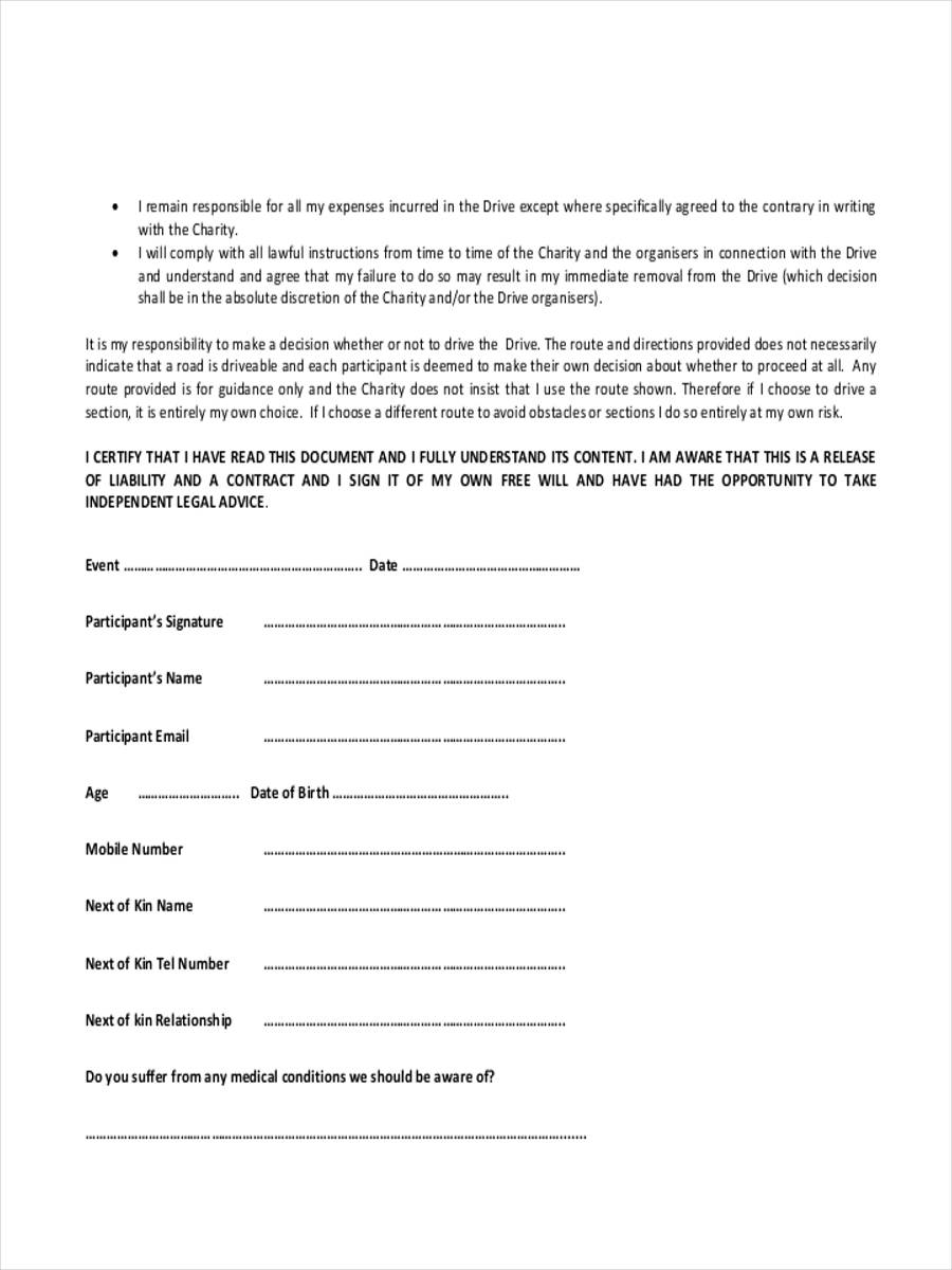 FREE 7 Accident Waiver Forms In MS Word
