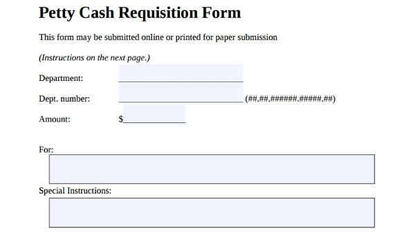 7 petty cash requisition form samples free sample example format