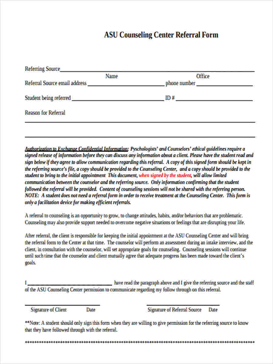 center referral form