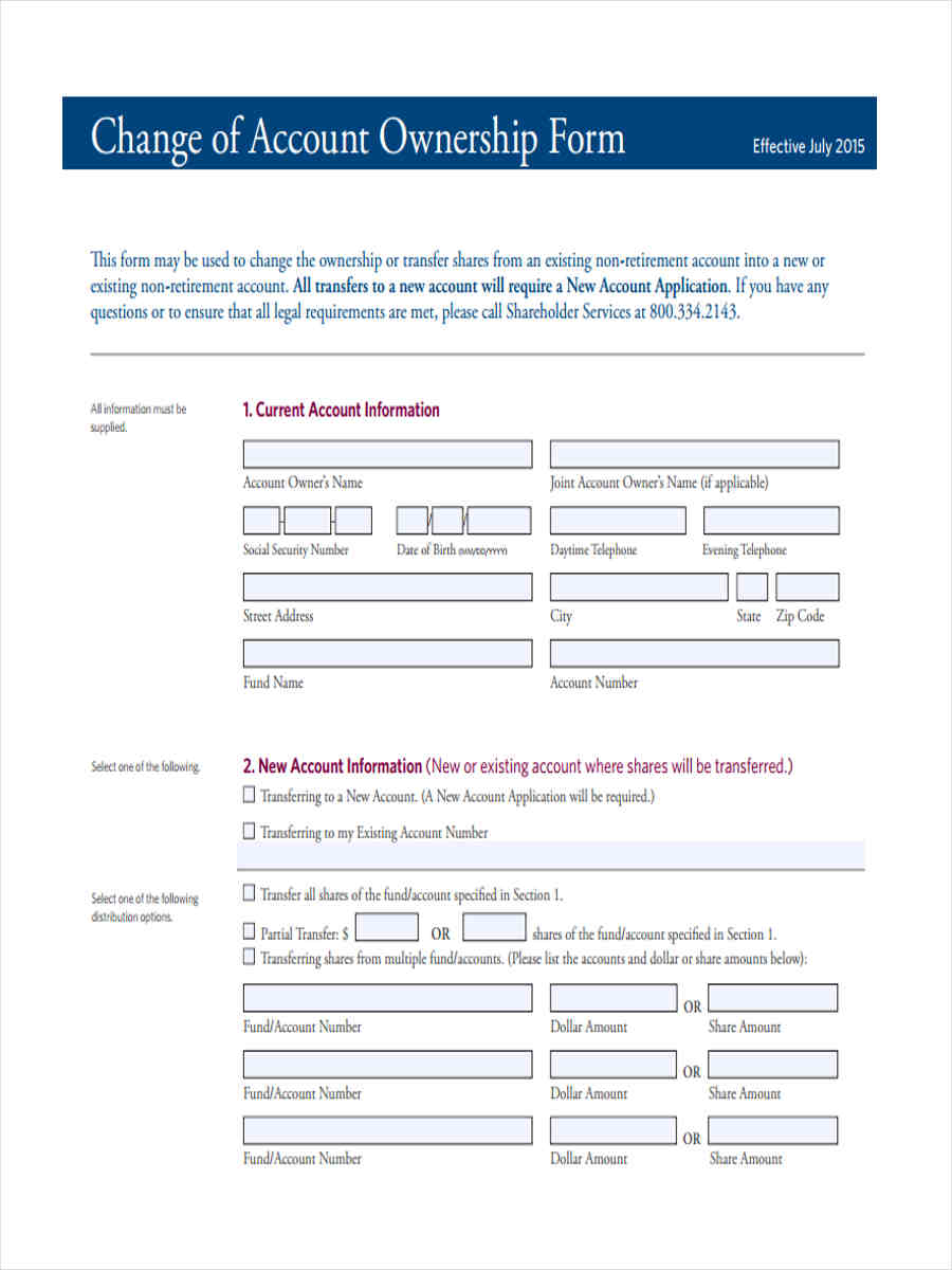 7+ Ownership Transfer Form Sample - Free Sample, Example Format ...