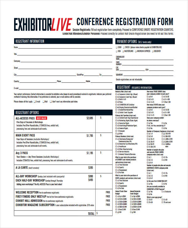 check in conference form