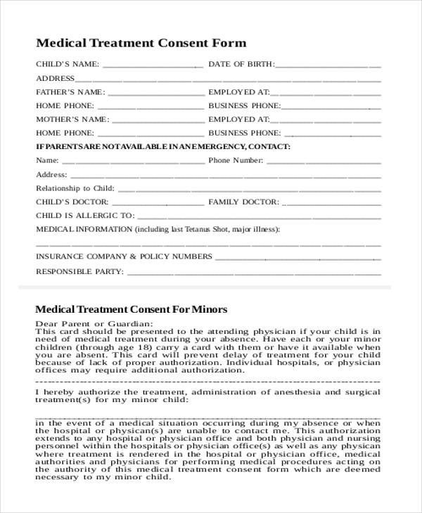 child medical consent sample